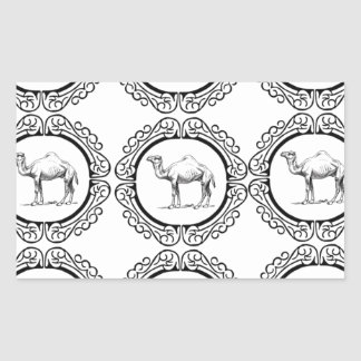 Sticker Rectangulaire Groupe de chameau
