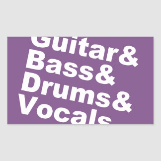Sticker Rectangulaire Guitar&Bass&Drums&Vocals (blanc)