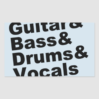 Sticker Rectangulaire Guitar&Bass&Drums&Vocals (noir)