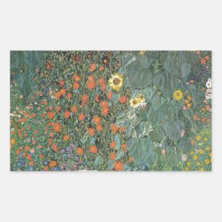 Sticker Rectangulaire Gustav Klimt - fleurs de tournesols de jardin de
