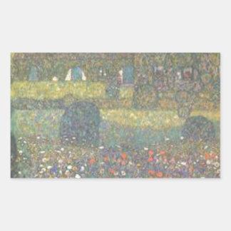 Sticker Rectangulaire Gustav Klimt - maison de campagne par l'art