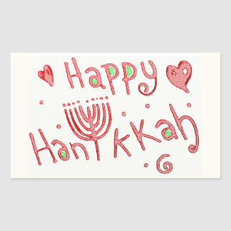 Sticker Rectangulaire Hannukah heureux