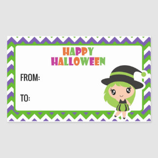Sticker Rectangulaire Happy Halloween cute witch label 3 - ils green