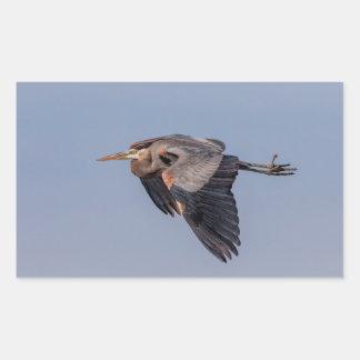 Sticker Rectangulaire Héron de grand bleu en vol