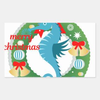 Sticker Rectangulaire hippocampe de Joyeux Noël