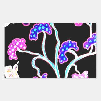 Sticker Rectangulaire Hirondelle-et-fruit-arbre-Heureux-Anniversaire