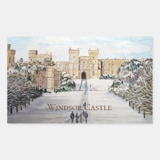 Sticker Rectangulaire Hiver à la peinture de paysage de château de