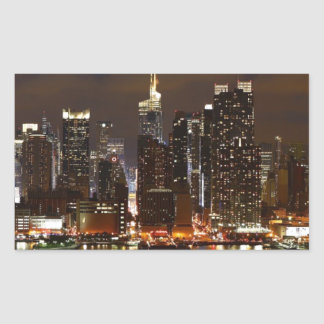 Sticker Rectangulaire Horizon de nuit de Manhattan