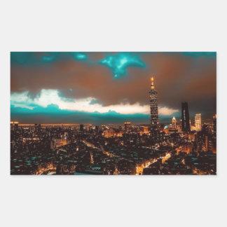 Sticker Rectangulaire Horizon de nuit de Taïpeh