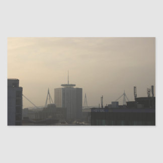 Sticker Rectangulaire Horizon de ville de Cardiff