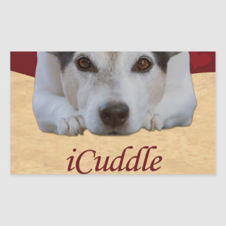 Sticker Rectangulaire iCuddle de Jack Russel