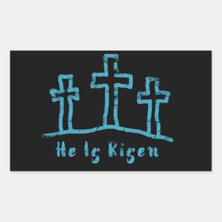 Sticker Rectangulaire Il est résurrection levée de Pâques de calvaire