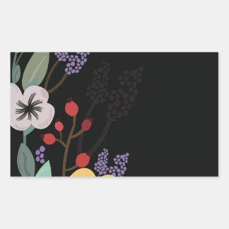 Sticker Rectangulaire Illustration florale sur l'arrière - plan noir