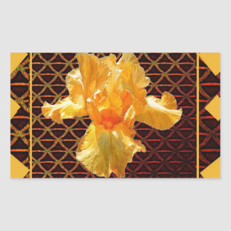 STICKER RECTANGULAIRE IRIS BARBU D'OR DE MOTIF DE DIAMANT D'ART DE BROWN