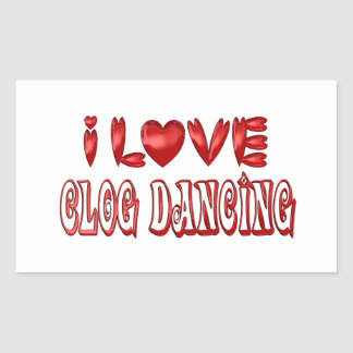 Sticker Rectangulaire J'aime la danse d'entrave