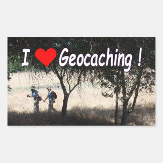 Sticker Rectangulaire J'aime l'autocollant de Geocaching avec des
