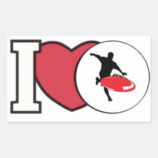 Sticker Rectangulaire J'aime l'autocollant de GOLF de DISQUE