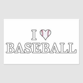 Sticker Rectangulaire J'aime le base-ball