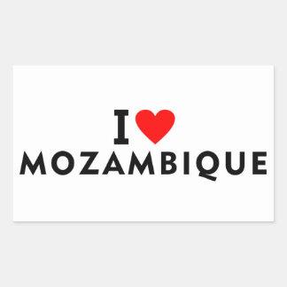 Sticker Rectangulaire J'aime le pays de la Mozambique comme des touris