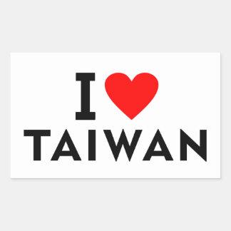 Sticker Rectangulaire J'aime le pays de Taïwan comme le tourisme de