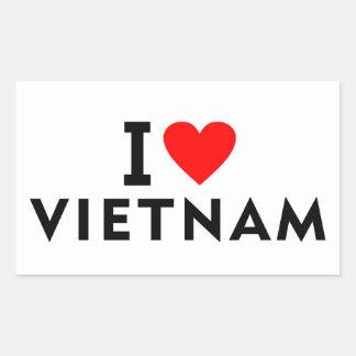 Sticker Rectangulaire J'aime le pays du Vietnam comme le tourisme de