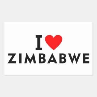 Sticker Rectangulaire J'aime le pays du Zimbabwe comme le tourisme de