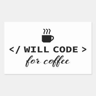 Sticker Rectangulaire Je coderai pour le café
