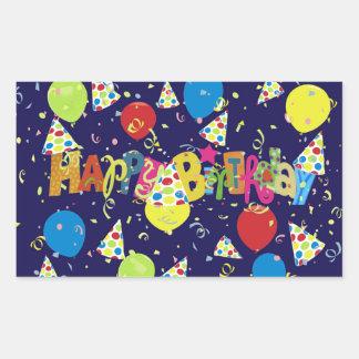 Sticker Rectangulaire Joyeux anniversaire bleu de fête