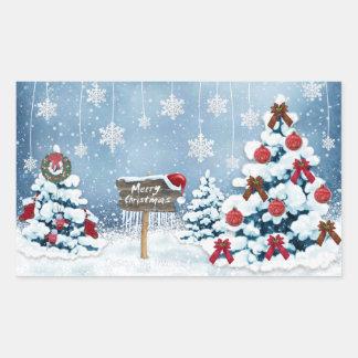 Sticker Rectangulaire Joyeux Noël