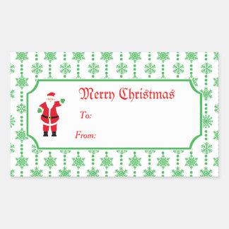 Sticker Rectangulaire Joyeux Noël et cadeau du père noël