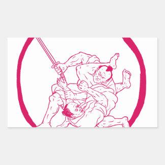 Sticker Rectangulaire Jui samouraï Jitsu combattant le dessin d'Enso