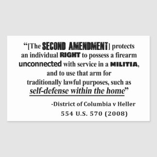 Sticker Rectangulaire Jurisprudence d'amendement de dc v Heller en