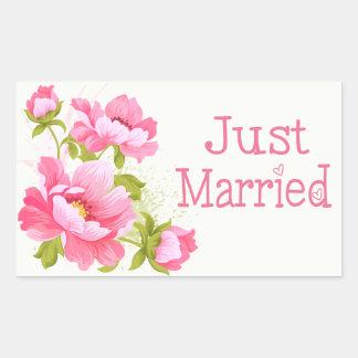 Sticker Rectangulaire Juste mariage rose marié floral de fleur de