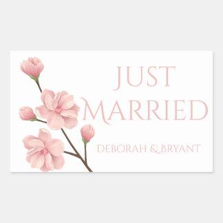 Sticker Rectangulaire Juste marié épousant la fleur rose de fleurs de