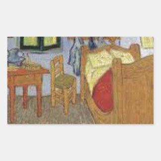 Sticker Rectangulaire La chambre de Vincent Van Gogh (The room)