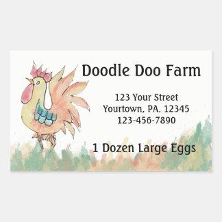 Sticker Rectangulaire La coutume de coq Eggs l'autocollant