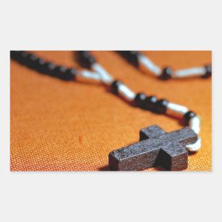 Sticker Rectangulaire la croix en bois de chapelet