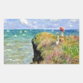 Sticker Rectangulaire La falaise de Pourville de Claude Monet