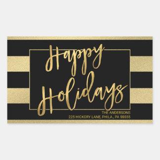 Sticker Rectangulaire La feuille d'or de Faux de Noël barre l'adresse de