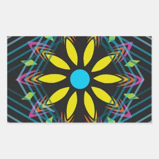 Sticker Rectangulaire La fleur jaune s'est fanée les diamants bleus