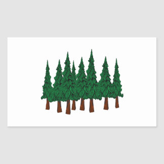 Sticker Rectangulaire La forêt à feuillage persistant