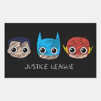 Sticker Rectangulaire La mini ligue de justice dirige le croquis