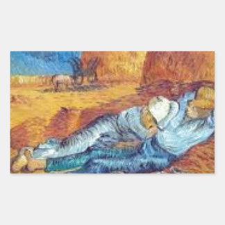 Sticker Rectangulaire La Sieste de Vincent Van Gogh (Noon)