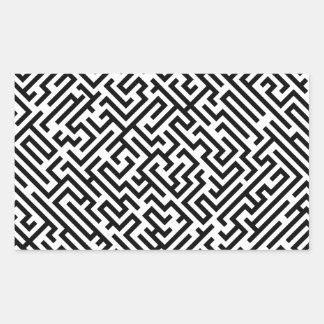 Sticker Rectangulaire Labyrinthe - motif noir et blanc