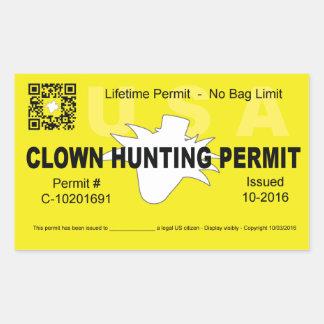 Sticker Rectangulaire Laiss de chasse de clown (4x) (jaune)