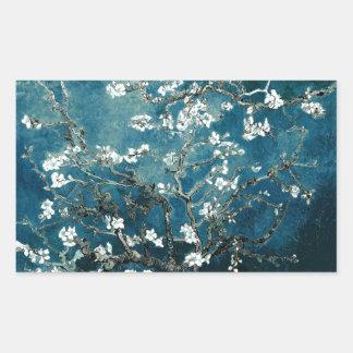 Sticker Rectangulaire L'amande de Vincent van Gogh fleurit Teal foncé