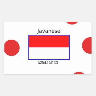 Sticker Rectangulaire Langue de Javanese et conception indonésienne de