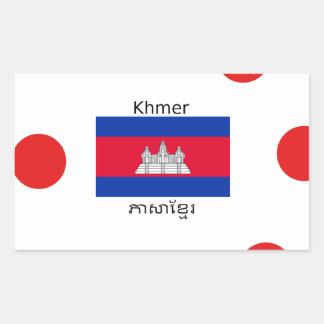 Sticker Rectangulaire Langue de Khmer et conception de drapeau de