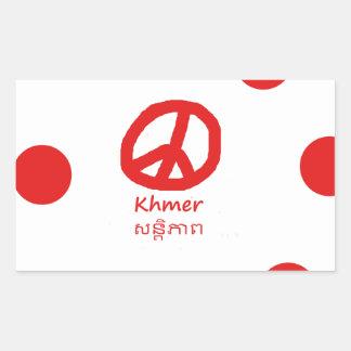 Sticker Rectangulaire Langue de Khmer et conception de symbole de paix