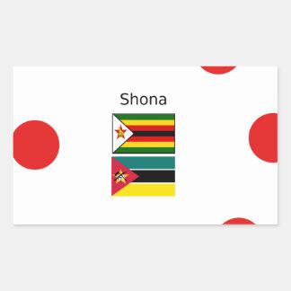 Sticker Rectangulaire Langue de Shona et drapeaux du Zimbabwe et de la